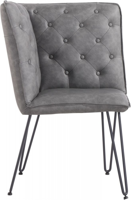 Studded Back Grey Faux Leather Corner Bench