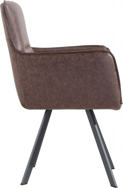 Cary Brown Faux Leather Dining Chair (Pair)