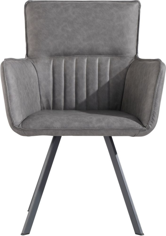 Cary Grey Faux Leather Dining Chair (Pair)