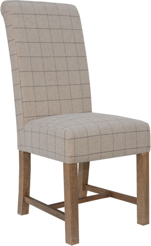 Hoxie Check Natural Fabric Dining Chair (Pair)