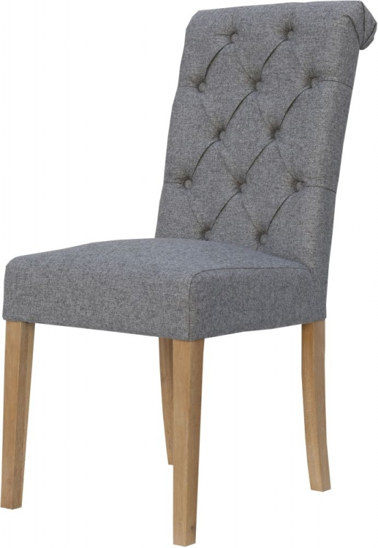 Light Grey Fabric Scroll Back Dining Chair (Pair)