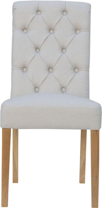 Natural Fabric Scroll Back Dining Chair (Pair)