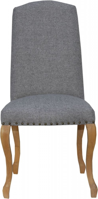 Luxury Light Grey Fabric Dining Chair (Pair)
