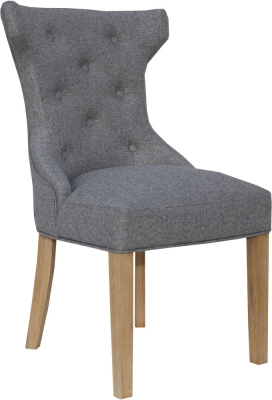 Light Grey Fabric Winged Button Back Dining Chair (Pair)