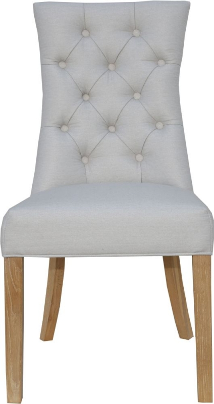 Natural Fabric Curved Button Back Dining Chair (Pair)