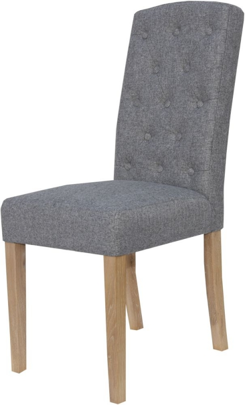 Light Grey Fabric Button Back Dining Chair (Pair)