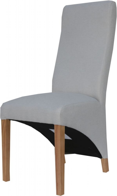 Natural Fabric Wave Back Fabric Chair (Pair)