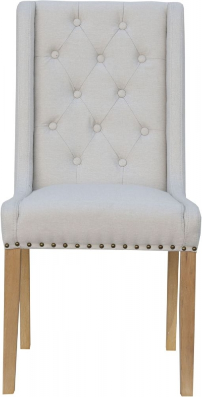 Button Back Natural Fabric Dining Chair (Pair)