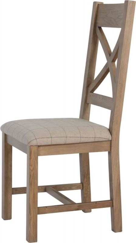 Hatton Oak Cross Back Dining Chair with Natural Fabric Seat (Pair)