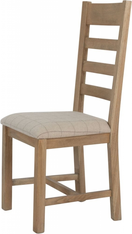 Hatton Oak Slatted Back Dining Chair with Natural Fabric Seat (Pair)