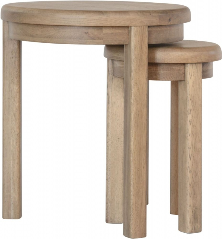Hatton Oak Round Nest of Tables