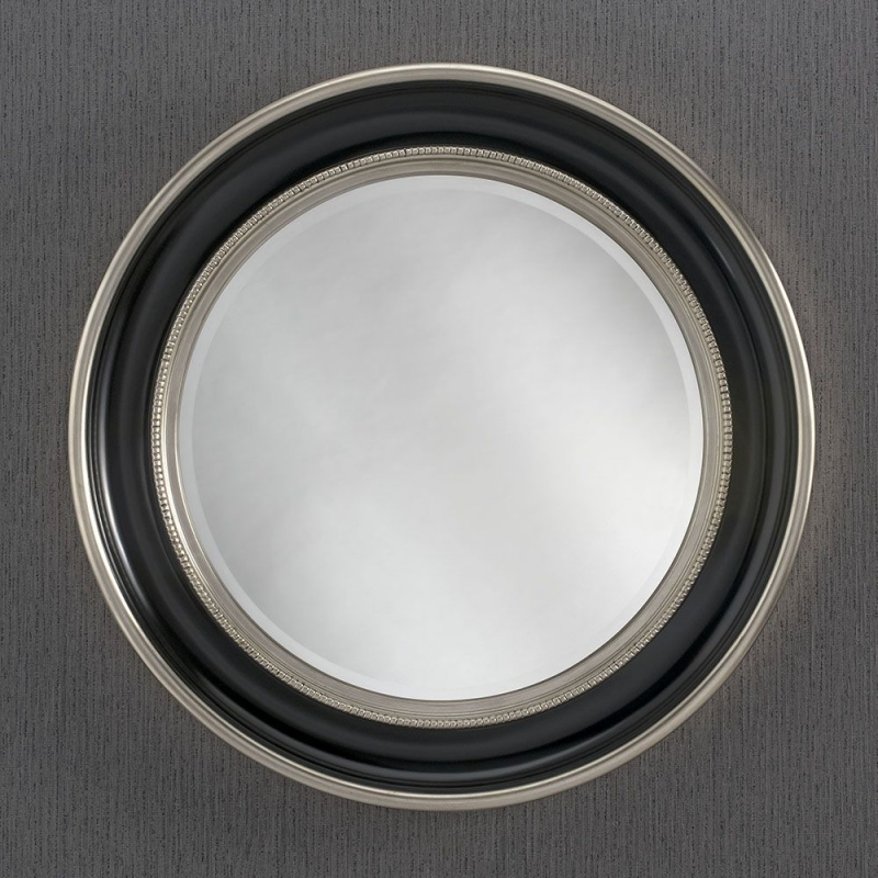 368 Black and Silver Round wall Mirror - 91cm