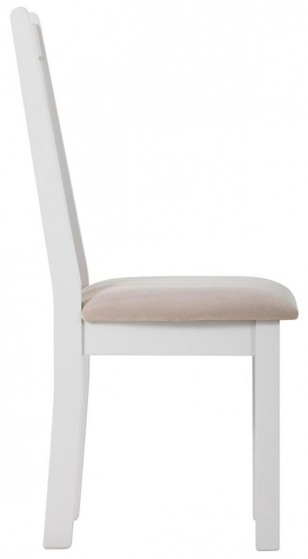 Clearance Half Price - Rosa Painted Slatted Dining Chair with Plush Platinum Fabric Seat (Pair) - New - FS252