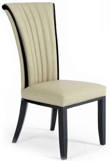 Clearance Half Price - Mark Harris Almeria Cream Bonded Leather Dining Chair (Pair) - New - FS258