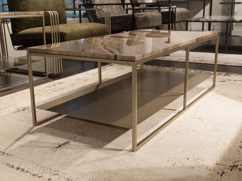 Stone International Billy Marble Occasional Table with Metal Base