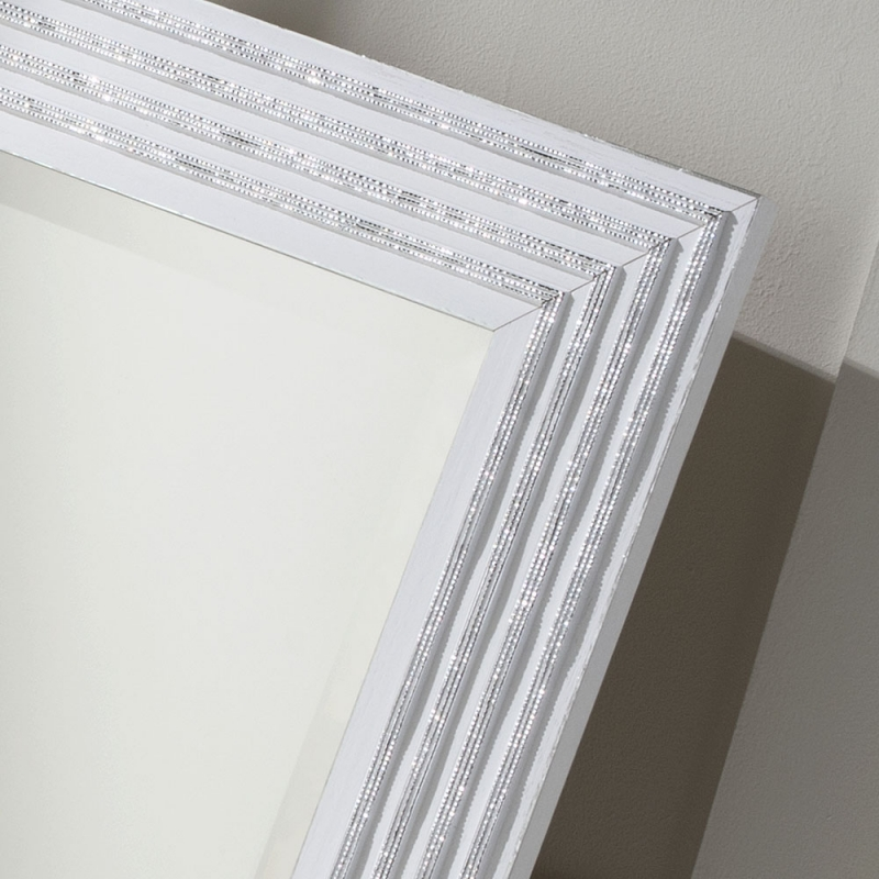 162 White and Silver Rectangular Wall Mirror - 69cm x 94cm