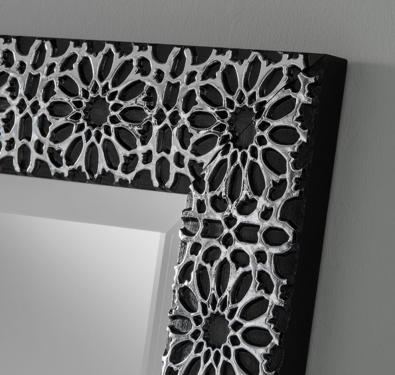 41 Black Rectangular Wall Mirror - 74cm x 107cm