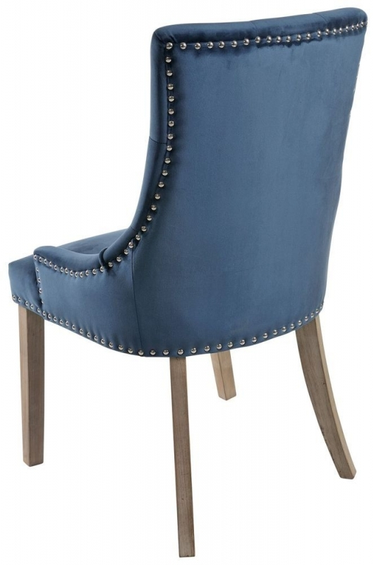 Clearance - Rowico Vicky Fabric Dining Chair with Vintage Legs (Pair) - Prussian Blue - New