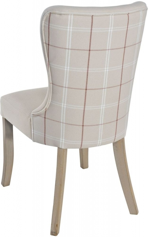 Clearance - Rowico Adele Check Fabric Chair (Pair) - Red - New