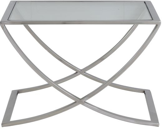 Clearance Half Price - Molina Square Coffee Table - Glass and Nickel - New - 1284