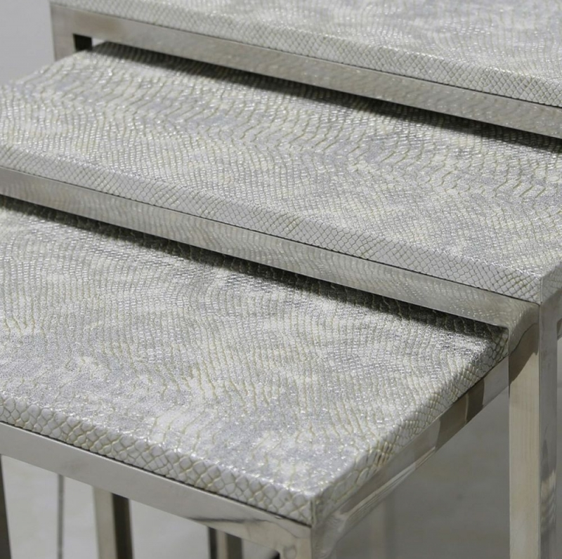 Clearance Half Price - Enna Silver Faux Snakeskin Nest of Tables - New - 1269