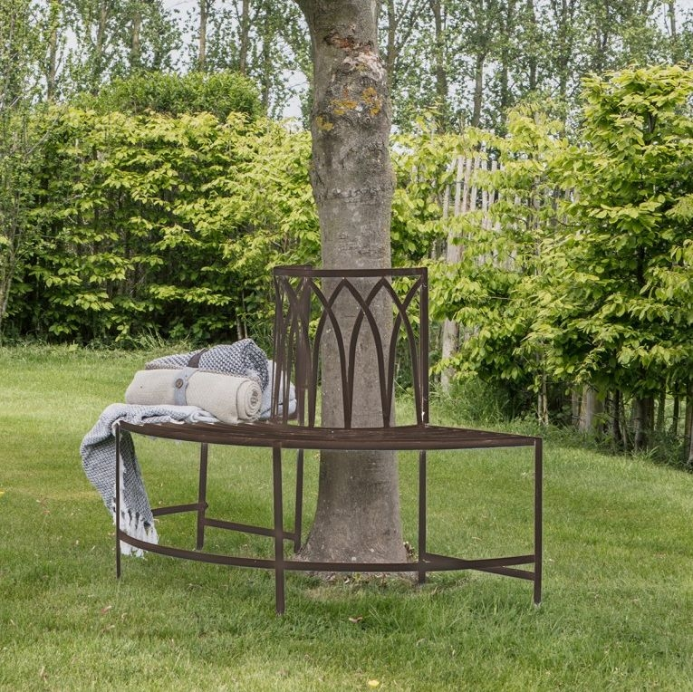 Gallery Direct Alberoni Brown Ember Outdoor Garden Tree Bench