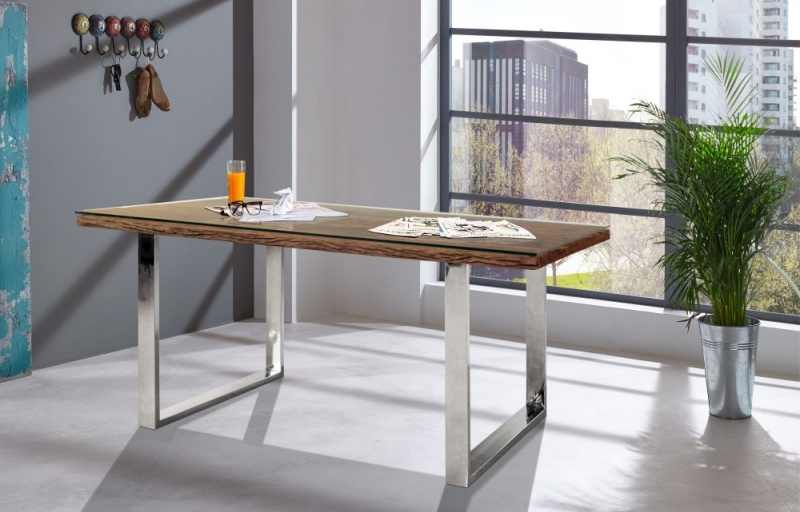 Indus Valley Railway Sleeper Industrial Glass Top Dining Table - Reclaimed Wood and Stainless Steel