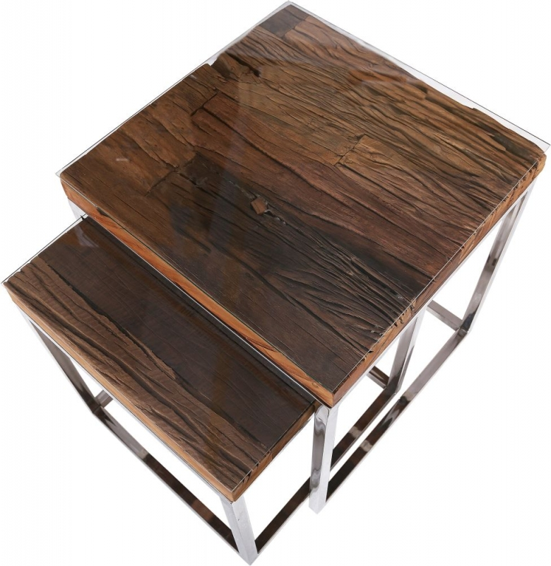 Indus Valley Railway Sleeper Industrial Glass Top Nest of 2 Tables - Reclaimed Wood and Stainless Steel