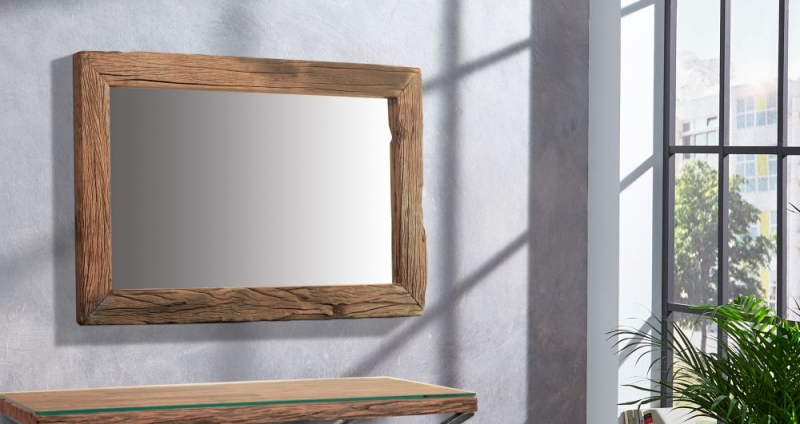 Indus Valley Railway Sleeper Industrial Rectangular Wall Mirror - Reclaimed Wood