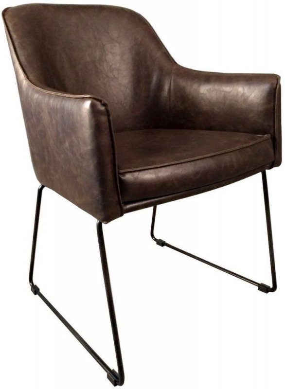Indus Valley Axel Brown Faux Leather Dining Chair (Pair)