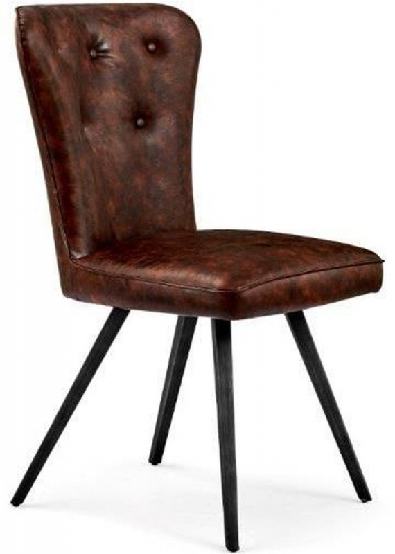 Indus Valley Arjun Brown Faux Leather Dining Chair (Pair ...