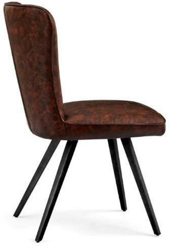 Indus Valley Arjun Brown Faux Leather Dining Chair (Pair)