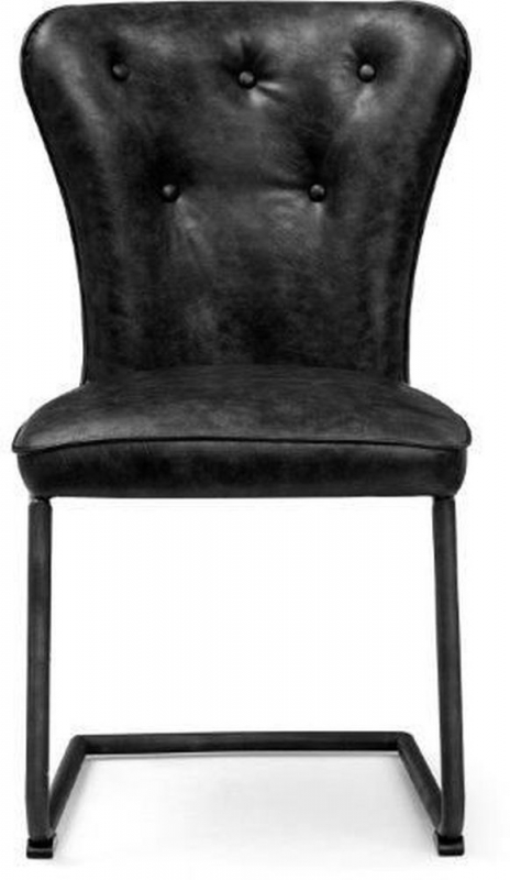 Indus Valley Arjun Black Faux Leather Dining Chair (Pair)