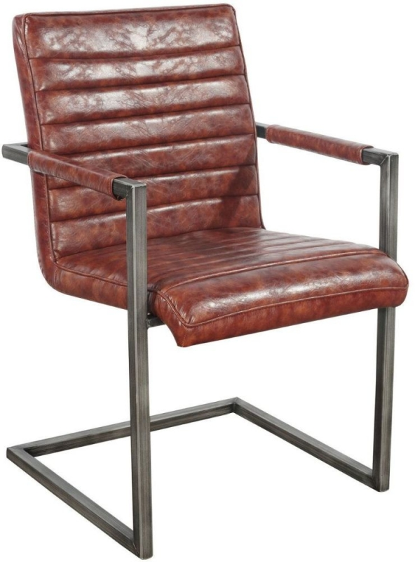 Indus Valley Aaryan Brown Faux Leather Dining Chair (Pair)