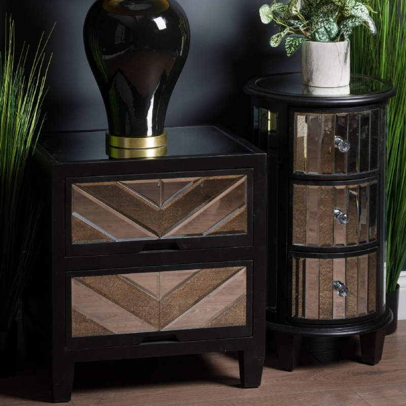 Hill Interiors Soho Black and Mirrored 2 Drawer Bedside Cabinet