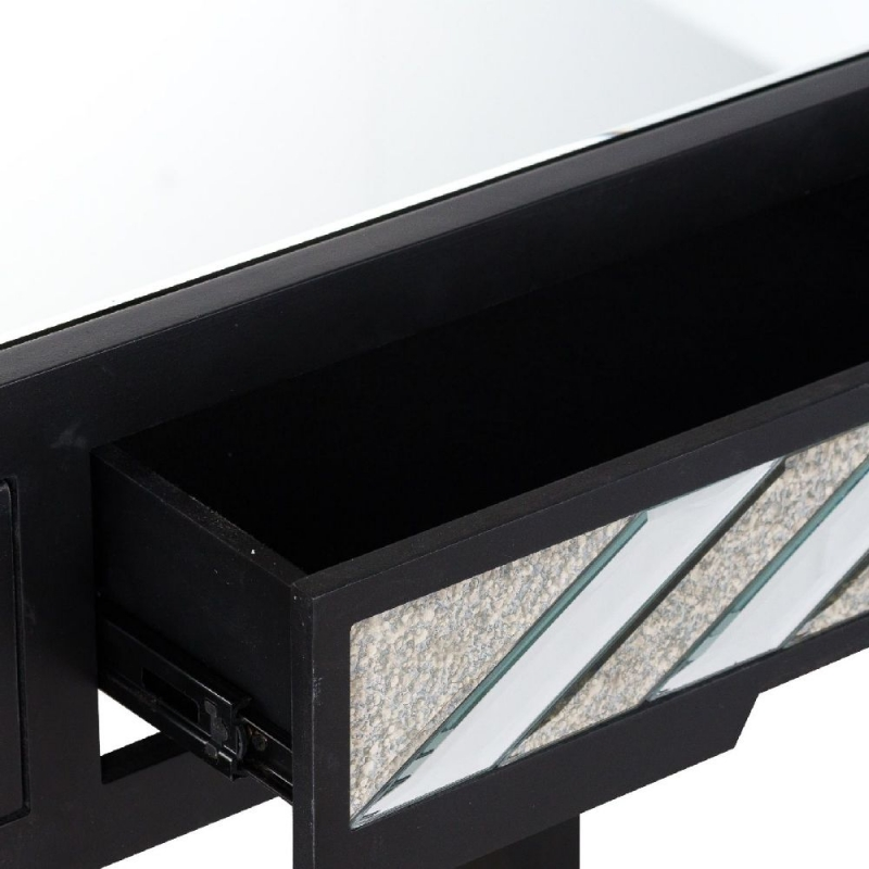 Hill Interiors Soho Black and Mirrored 2 Drawer Console Table