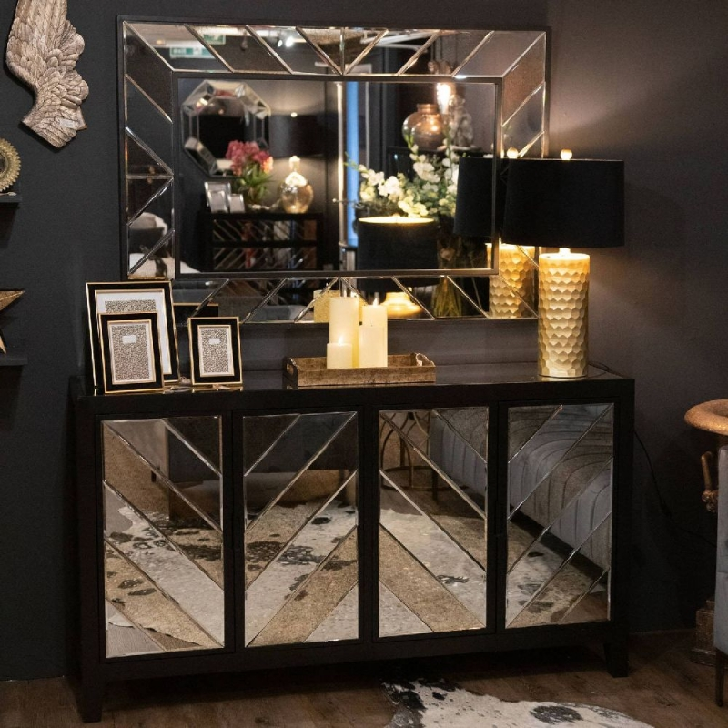 Hill Interiors Soho Black and Mirrored 4 Door Sideboard