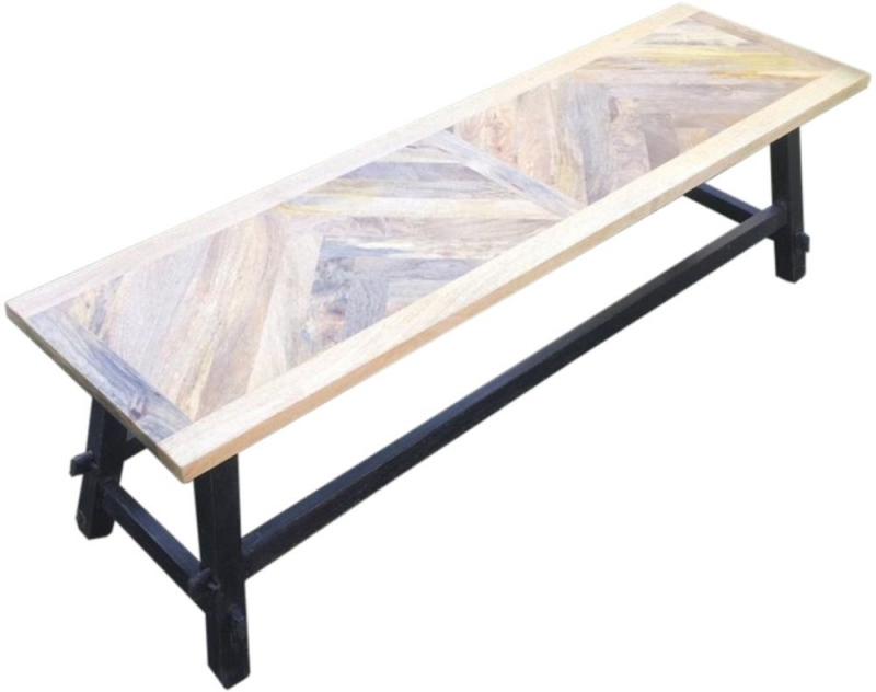 Hill Interiors Nordic Parquet Style Mango Wood Dining Bench