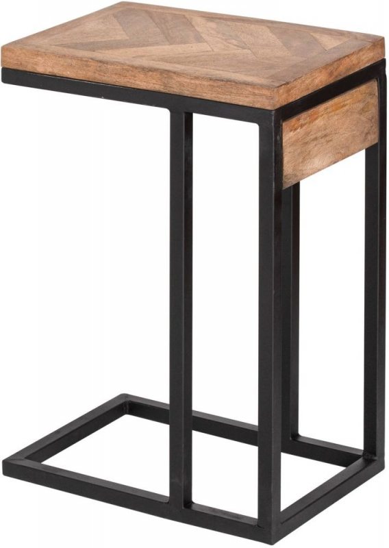 Hill Interiors Nordic Parquet Style Mango Wood Side Table