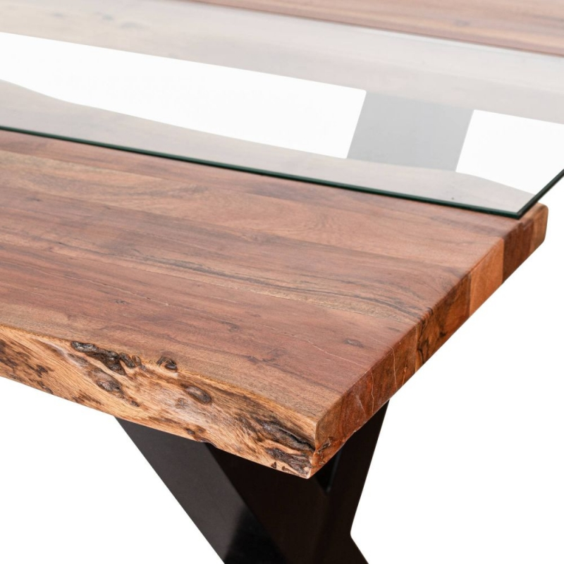 Hill Interiors Live Edge Glass Inlay Dining Table - Acacia Wood and Metal