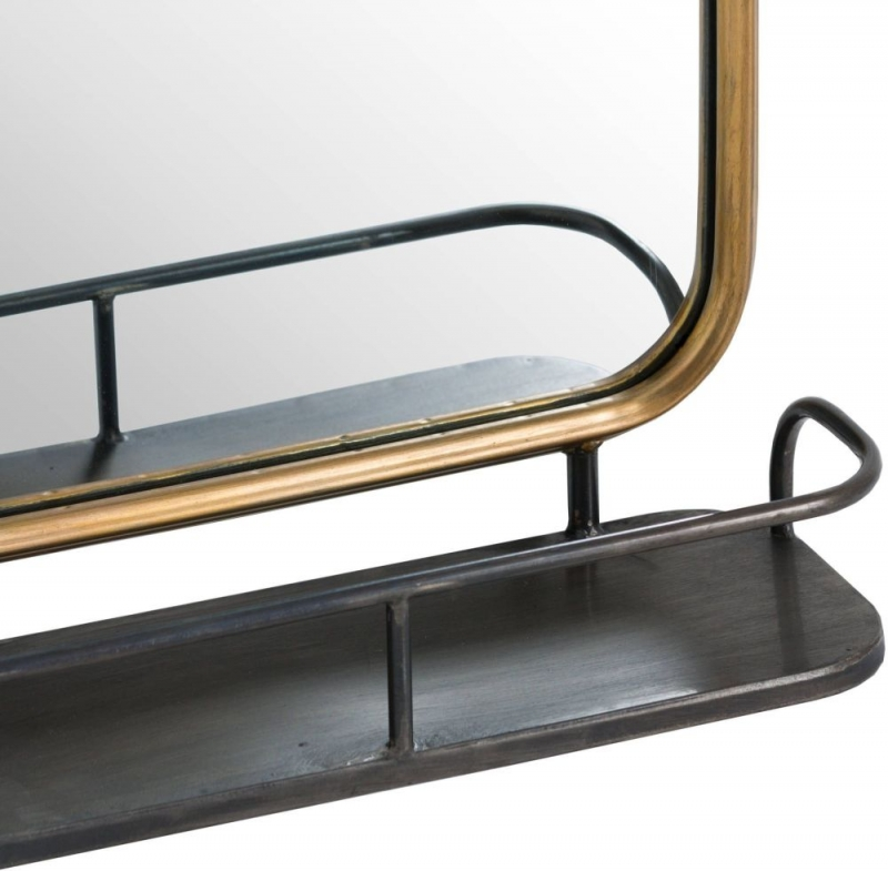 Hill Interiors Antique Gold Industrial Curved Wall Mirror with Shelf - 30cm x 60cm