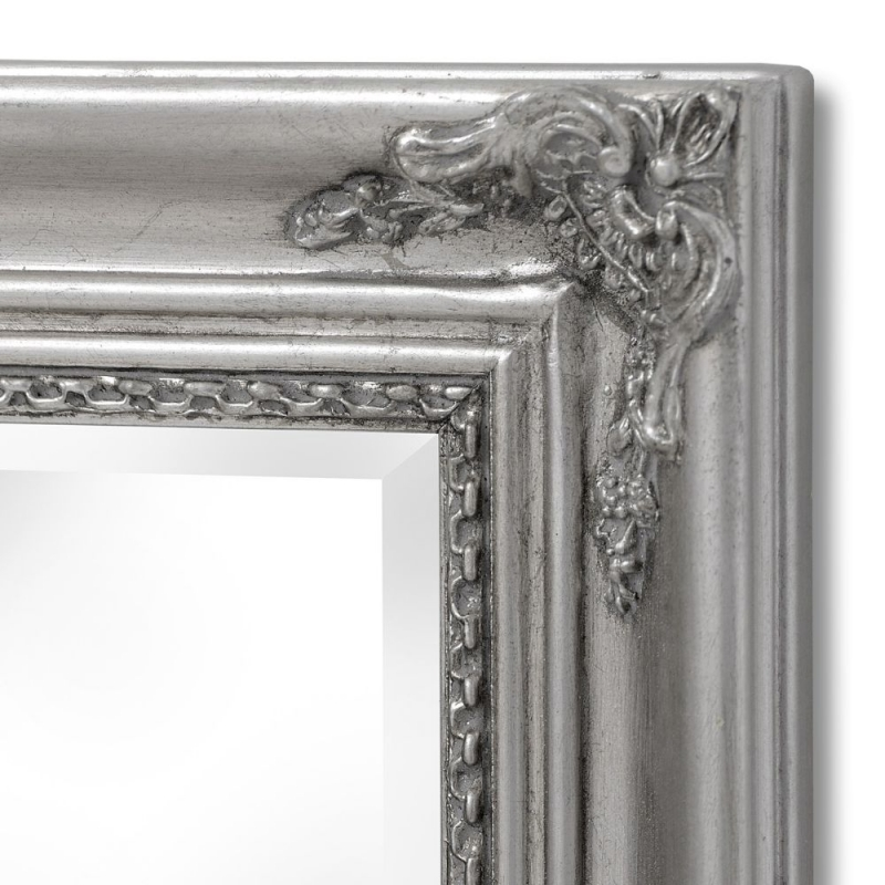 Hill Interiors Baroque Slimline Antique Silver Leaner Mirror - 19cm x 135cm