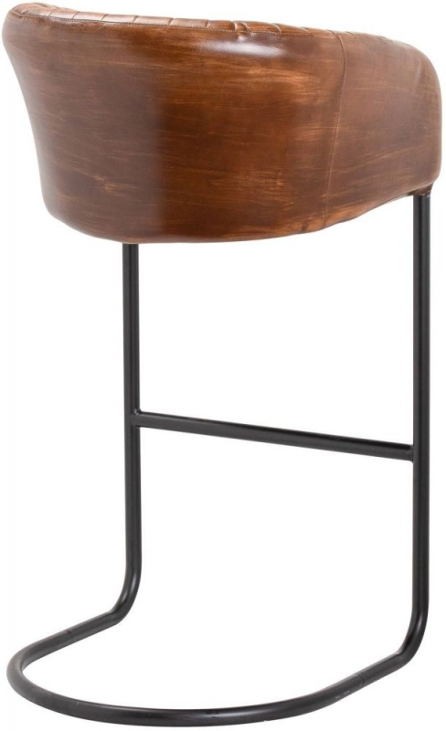 Hill Interiors Billy Brown Leather Ribbed Barstool