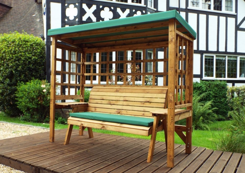 Charles Taylor Wentworth 3 Seater Garden Arbour with Green Roof Cover