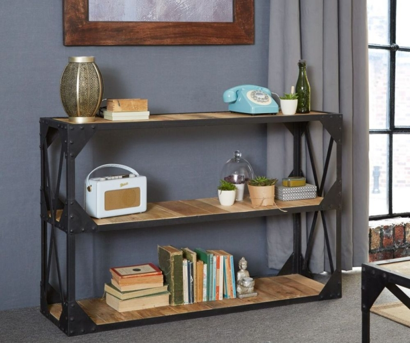 Indian Hub Ascot Industrial Console Table - 1 Shelf