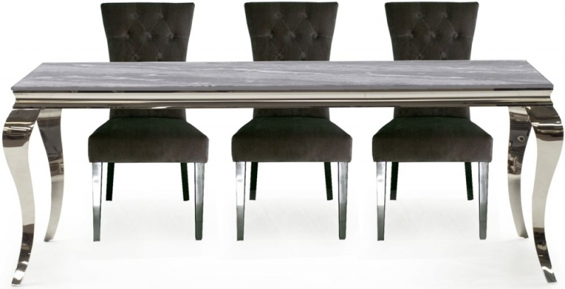 Vida Living Fabien 160cm Dining Table - Grey Glass and Chrome