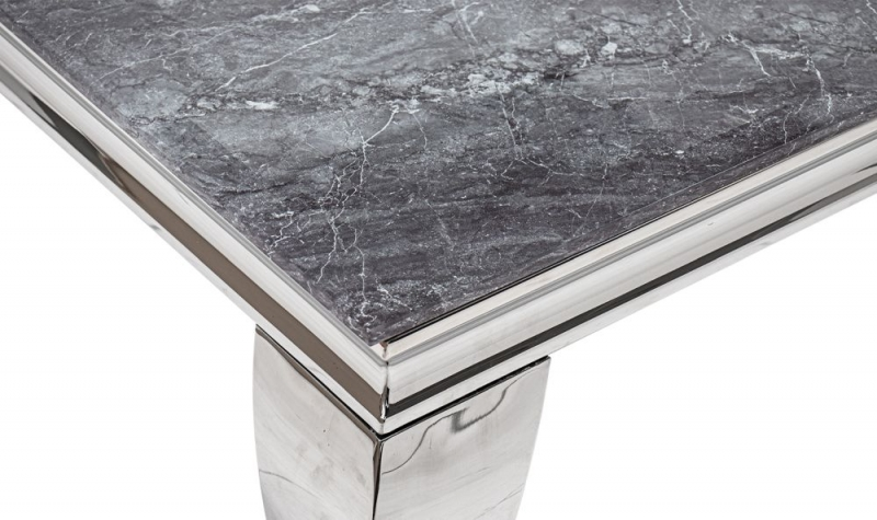 Vida Living Fabien Console Table - Grey Glass and Chrome