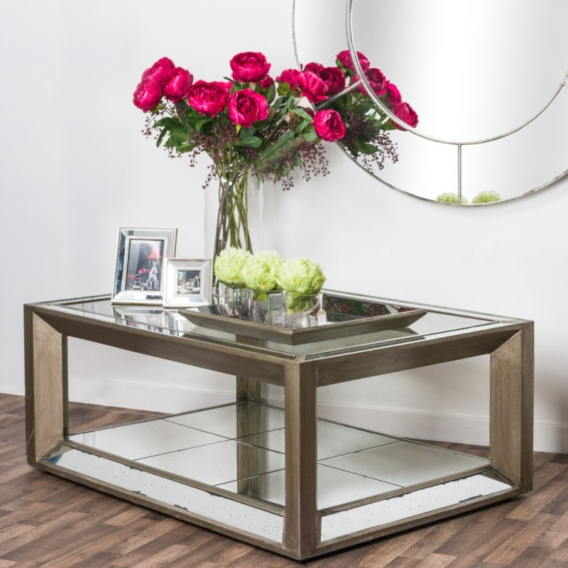 Hill Interiors Augustus Mirrored Antique Metallic Coffee Table with Shelf
