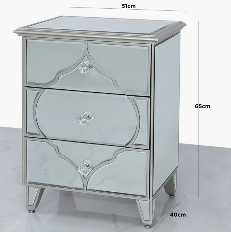 Morocco Silver Mirrored Bedside Cabinet