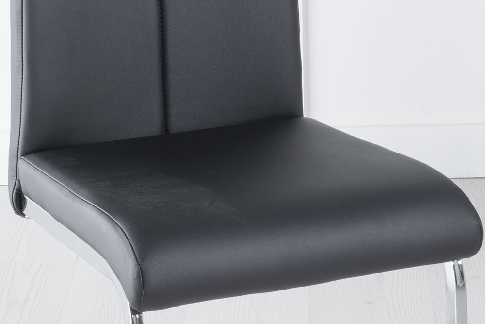 Nikko Black Faux Leather Handle Dining Chair with Brushed Metal Base